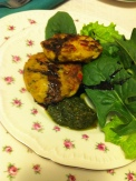 Golden Beet and Roast Red Pepper Fritters, with Basil Pesto, Balsamic Reduction and Garden Spinach