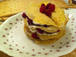 Gluten Free Raspberry Crepe Torta with Honey Lemon Whipped Cream
