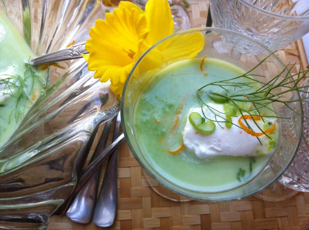 Fresh Pea, Fennel and Orange Soup with Pernod Whipped Cream