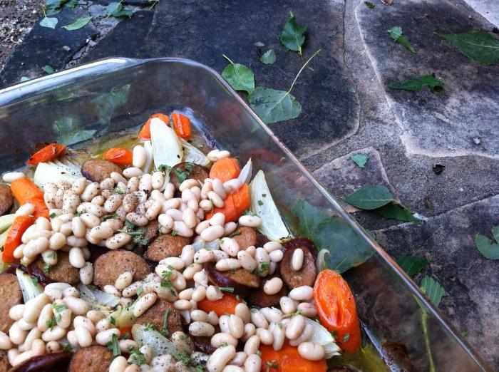 Smoked Turkey Keilbasa with Rosemary White Beans, Roast Onion and Carrots