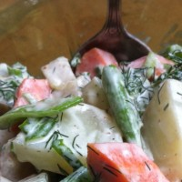 Sugar Snap Pea, Carrot - Potato Salad with Fresh Dill and Capers