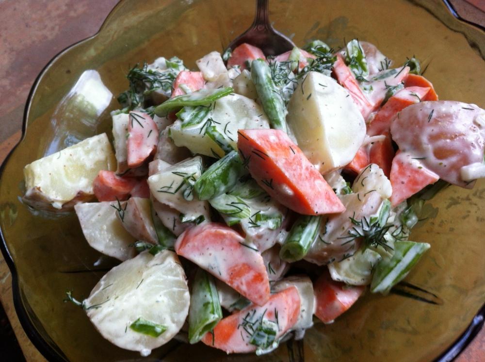 Sugar Snap Pea, Carrot Potato Salad with Fresh Dill