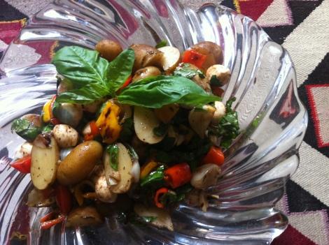 Roast Pepper Potato Salad with Basil and Pearl Mozzarella ~ with Balsamic Vinaigrette