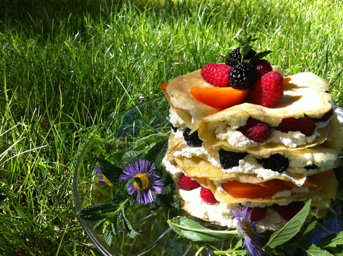 Summer Crepe Taco Stack with Bing Cherry Salsa