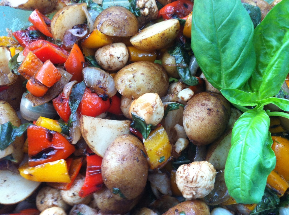 Potato Roast Pepper Salad with Basil and Pearl Mozzarella