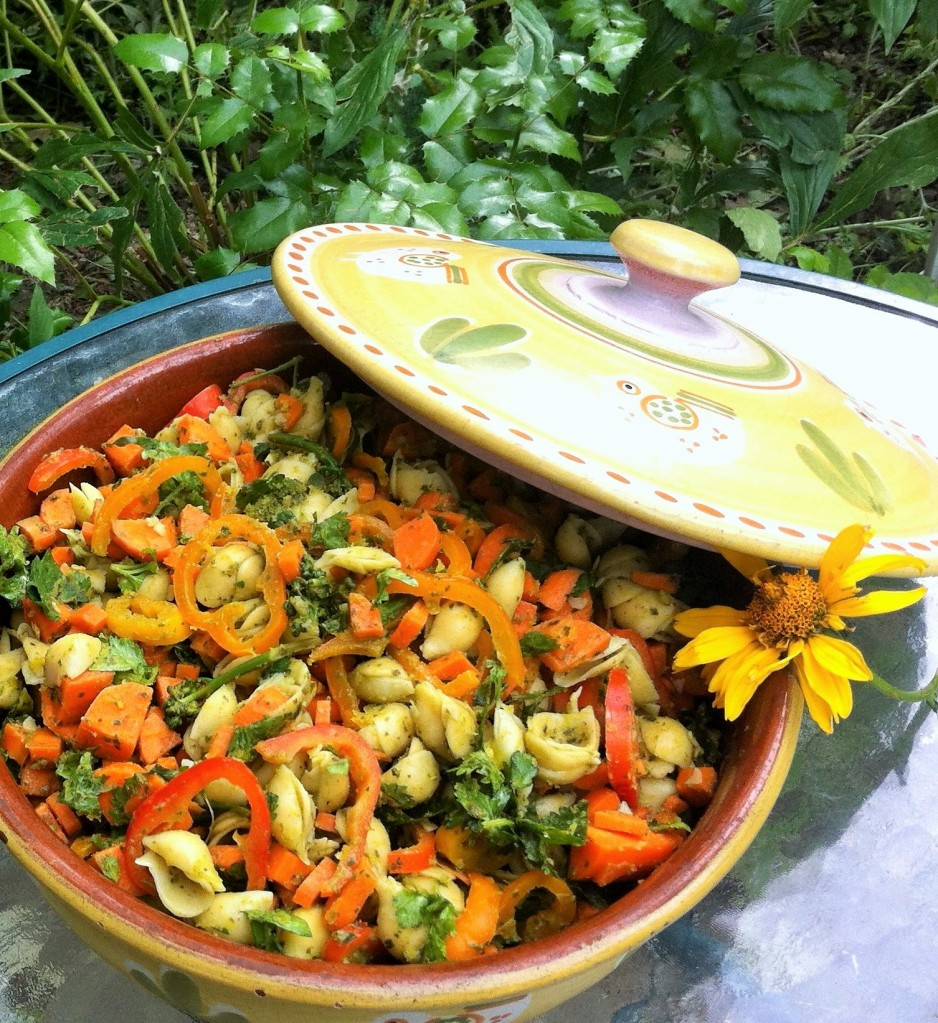 Thai Green Curry Pasta Salad in the garden