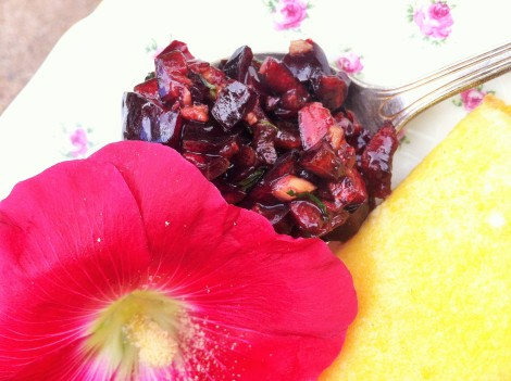 Bing cherry ginger salsa for the finishing touch