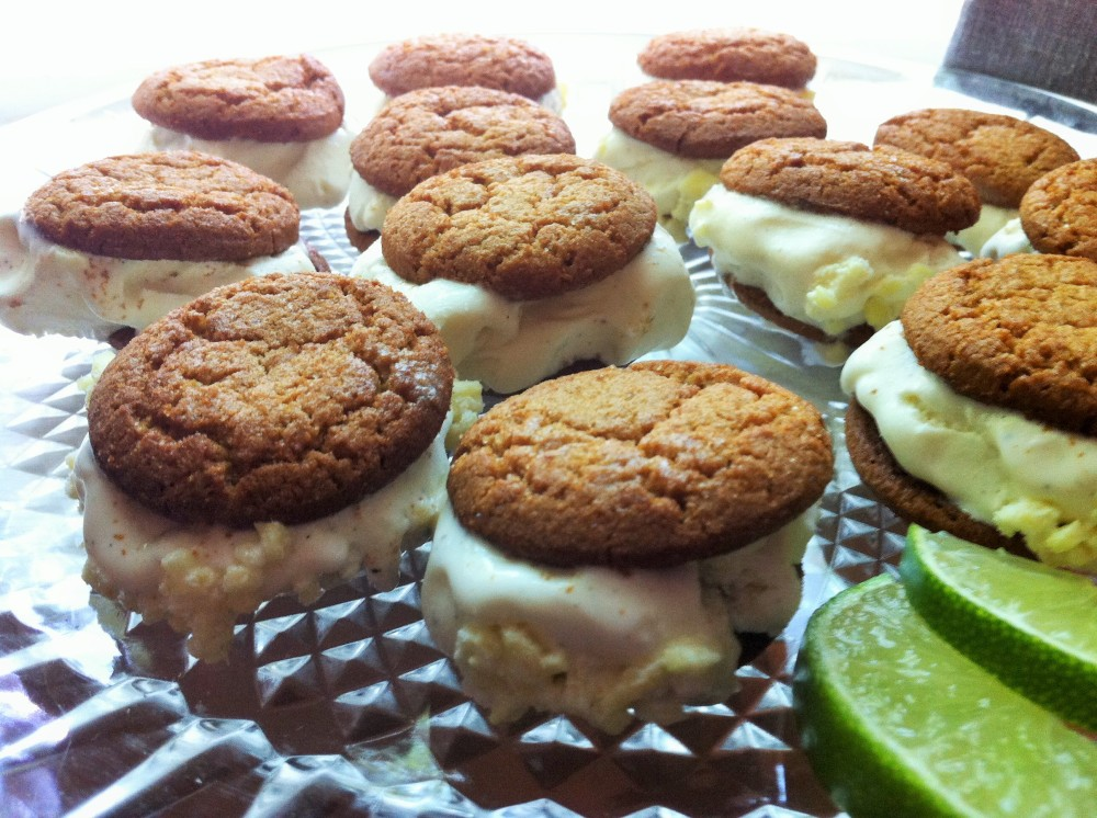 the luscious field of gingersnap ice cream sandwiches