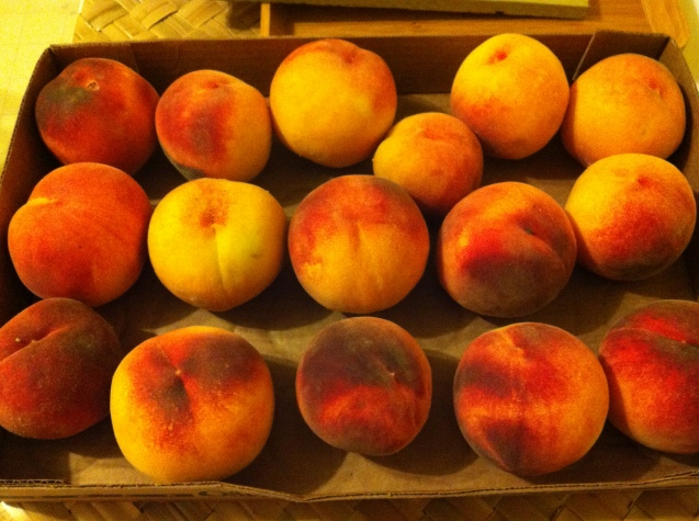 a gift of organic peaches