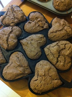 first muffins - buckwheat and heart-shaped (natcherally!)