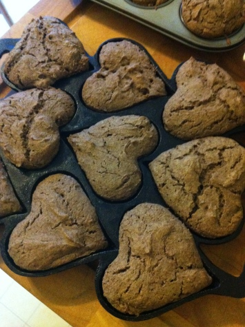 first muffins - buckwheat and heart-shaped (natcherally!)