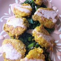 Golden Beet Fritters with Pesto Greens and Smoked Paprika Cream