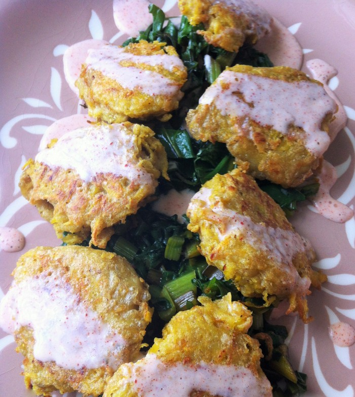 Golden Beet Fritters with Basil Pesto Greens and Smoked Paprika Cream