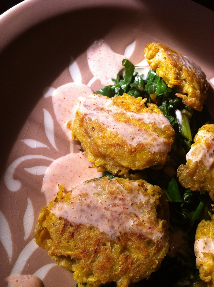 Golden Beet Fritters with Basil Pesto Greens and Smoked Paprika Cream - briefly basking in the sun
