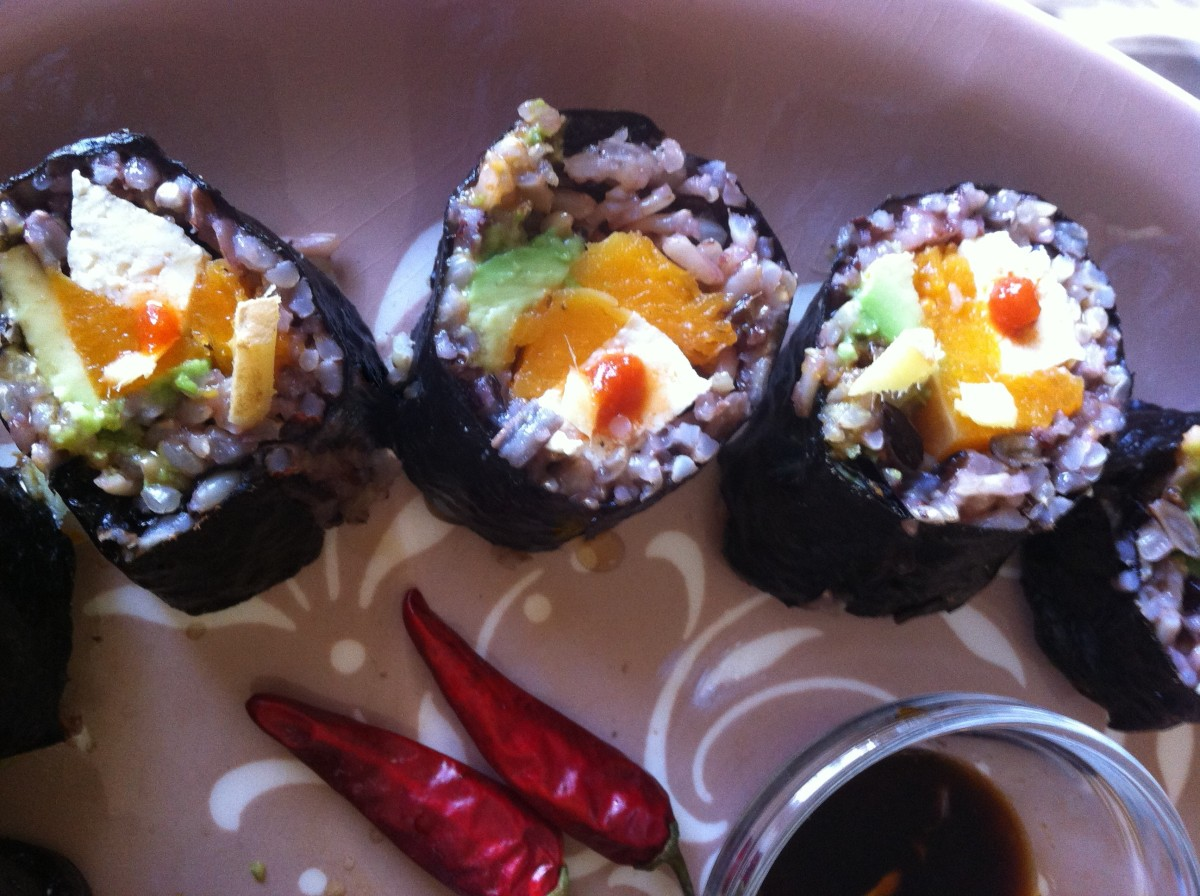 Butternut Squash, Wild Rice and Avocado Nori Rolls -- with Sriracha (my happy valentine)