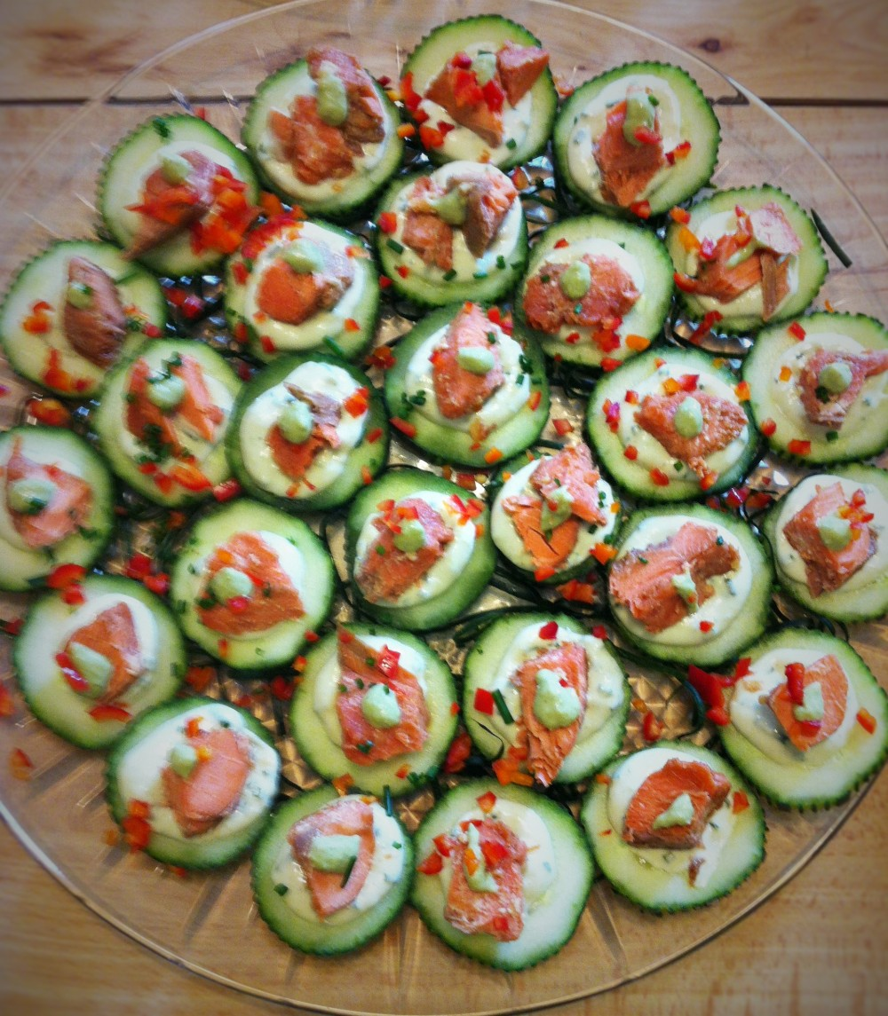ginger roast sockeye salmon cucumber canapes with wasabi mayo