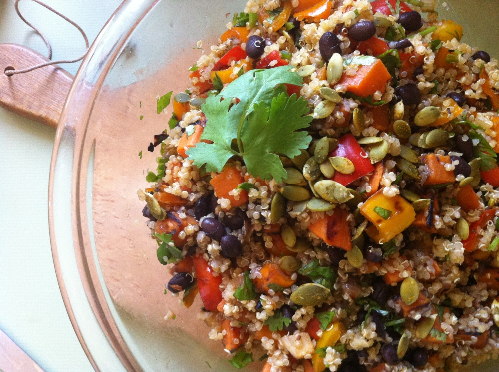 Incan Quinoa Salad with Roast Yams, Sweet Peppers, Black Beans, Lime and Jalapeno