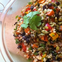 Incan Quinoa Salad with Roast Yams, Sweet Peppers, Black Beans, Lime and Chilies