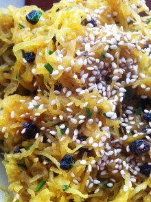 Crried Spaghetti Squash with Currants, Chives and Ghee