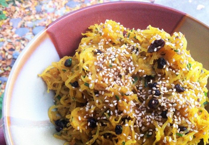 Curried Spaghetti Squash with Currants, Chives and Ghee