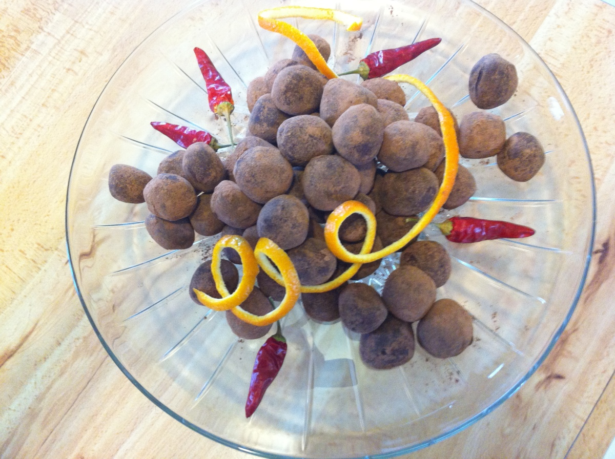 Solstice Leaning Winter Party - with a recipe for Chipotle Orange Chocolate Truffles