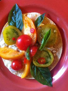 Heirloom Tomato, Basil and Goat Cheese Tortilla Pizza