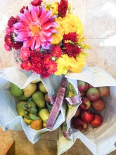 fruit picked from a friend's orchard, and a gift of a gorgeous flower bouquet