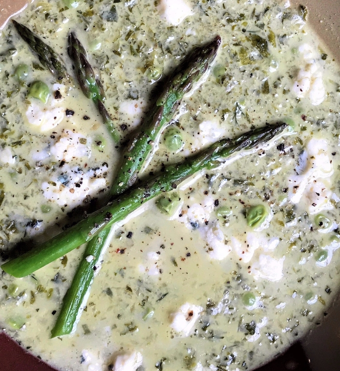 Cream of Grilled Endive and Asparagus  Soup with Fresh Peas and Blue Cheese