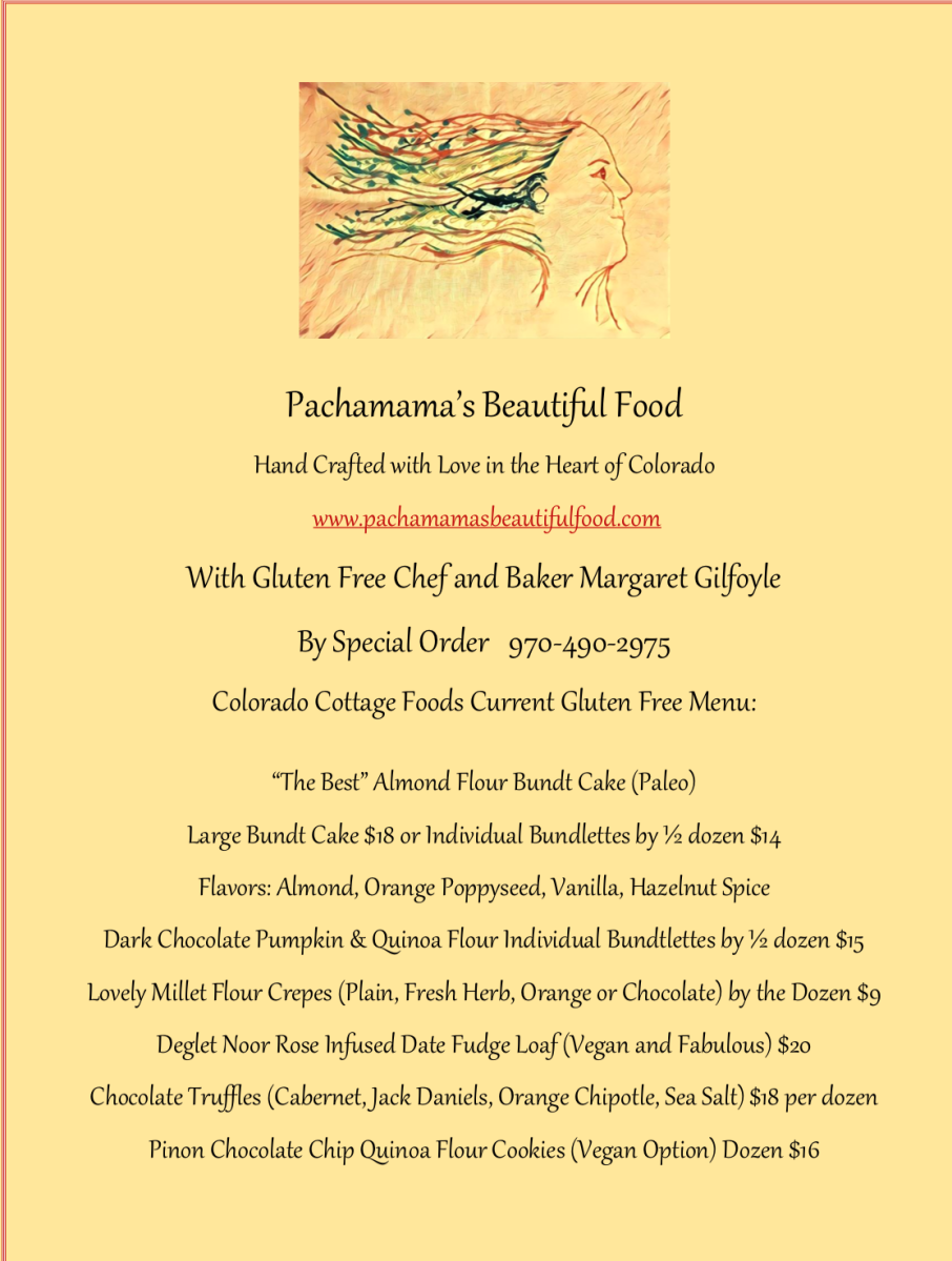 Pachamama's Beautiful Food Gluten Free Colorado Cottage Foods Menu