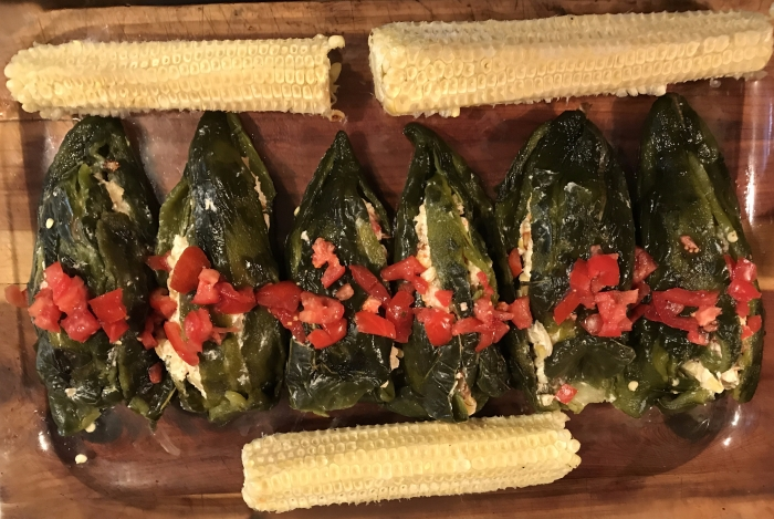Grilled Corn and Chevre Stuffed Poblano Chilies