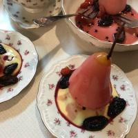 Eat Local Challenge : Foraged Fruit Poached Pears with Lemon Verbena Creme Anglaise