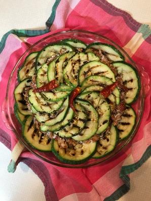 Grilled zucchini sausage pie
