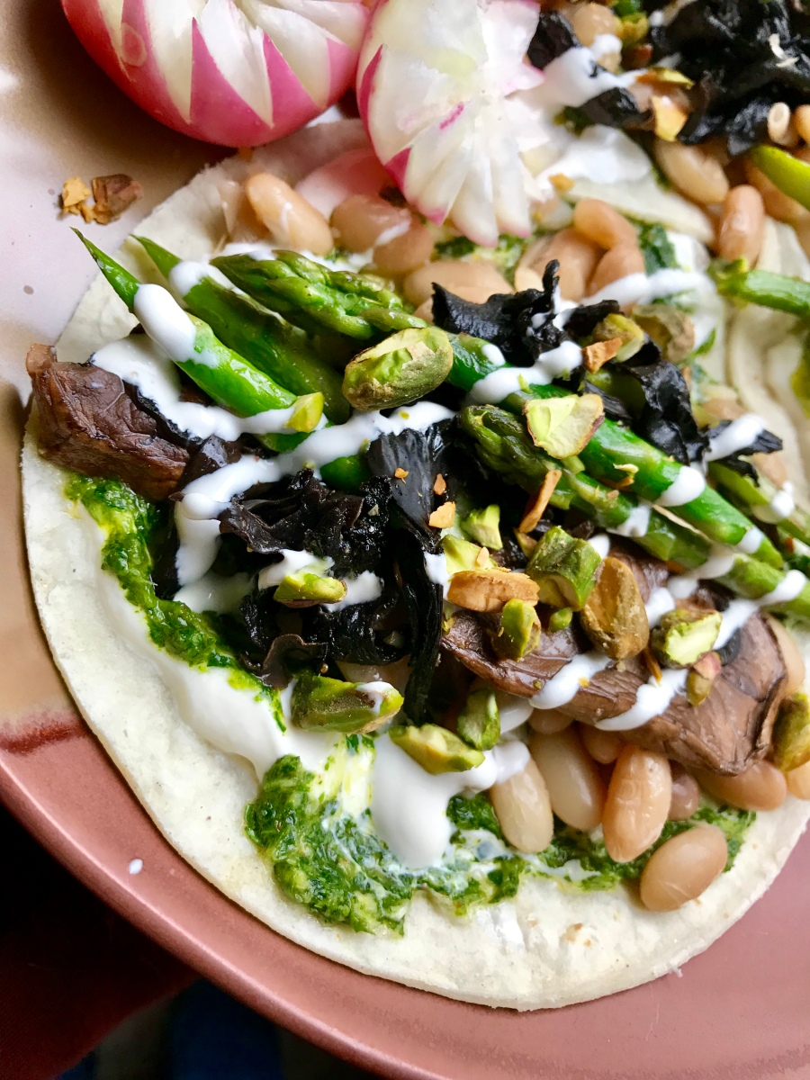 Spring Tacos with Wild Mushrooms, Asparagus and Cilantro Chimichurri, or, The World is Your Taco