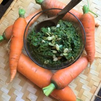 "Carrot Top Pesto - ""root to stem"" deliciousness"