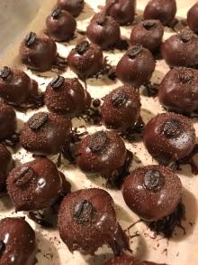 Kahlua dark chocolate truffles with Black Onyx sugar and coffee beans