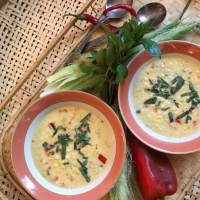 Fresh corn, sweet pepper and basil soup
