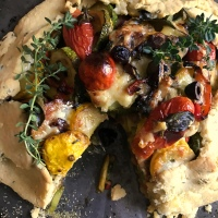 Rustic squash, olive and cheddar galette ... and the first snow of the season