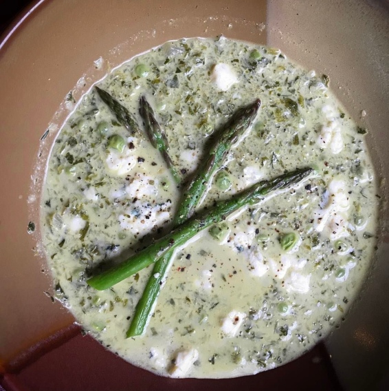 Grilled endive and asparagus soup with fresh peas and blue cheese