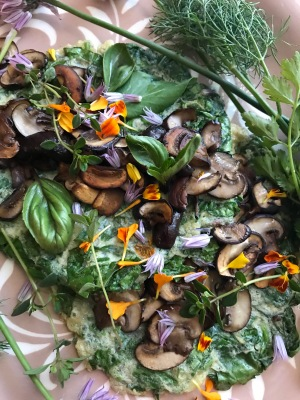 Herb and flower green omelettes